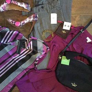Target Medium jewel purple polyester blouse